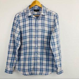 Banana Republic blue plaid collared shirt med